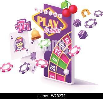 Vector online mobile casino app concept - Stock Photo