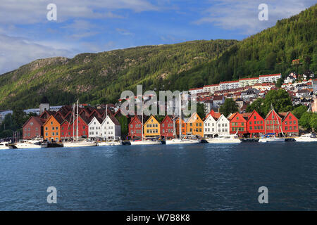 Bergen skyline in Norway. View of historical and colorful buildings in Bryggen and Hanseatic wharf in Bergen, Norway. UNESCO World Heritage Site