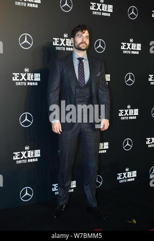 British actor Henry Cavill poses as he arrives on the red carpet for the movie 'Justice League' in Beijing, China, 26 October 2017. - Stock Photo