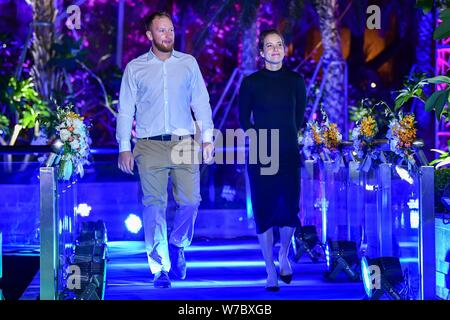 Czech tennis player Barbora Strycova, right, arrives at the reception party for the Hengqin Life WTA Elite Trophy Zhuhai 2017 tennis tournament in Zhu - Stock Photo