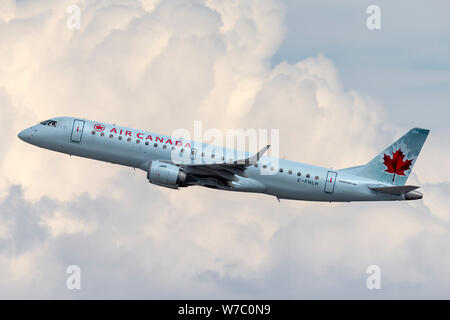 Air Canada Embraer ERJ-190 regional airliner jet taking off from McCarran International Airport in Las Vegas. - Stock Photo