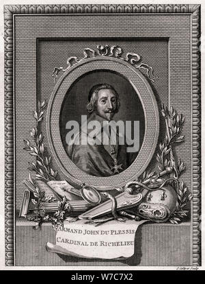 'Armand Jean Du Plessis, Cardinal et Duc de Richelieu', 1775. Artist: J Collyer - Stock Photo