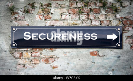 Street Sign the Direction Way to Secureness - Stock Photo