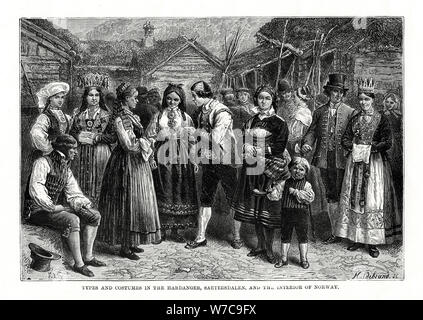 Types and costumes in Norway, 1879.Artist: Hildibrand - Stock Photo