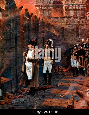 Napoleon and his staff watching the burning of Moscow, 1812, (late 19th century.) Artist: Unknown - Stock Photo