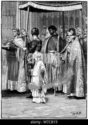 Coronation of Richard I in Westminster Abbey 1189, (c1880). Artist: Unknown - Stock Photo
