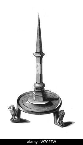 Bronze candlestick, late 13th-early 14th century, (1843).Artist: Henry Shaw - Stock Photo