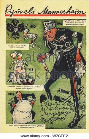 Mannerheim the Butcher (Soviet propaganda leaflet), 1939. - Stock Photo