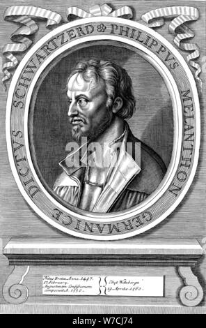 Philip Melanchthon the German Protestant reformer, c18th century. Artist: Unknown - Stock Photo
