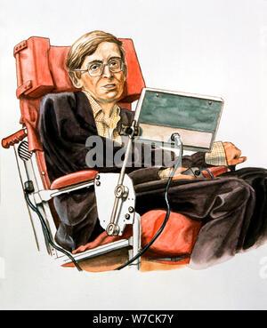 Stephen William Hawking (b.1942), British theoretical physicist. Artist: Unknown - Stock Photo