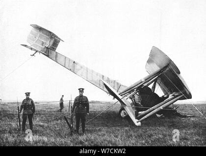 Alcock and Brown's aeroplane after completing the first non-stop transatlantic flight, 1919. Artist: Unknown - Stock Photo