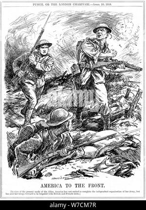 American reinforcements to aid the Allied troops before the main US Army arrived, World War 1, 1918. Artist: Leonard Raven-Hill - Stock Photo