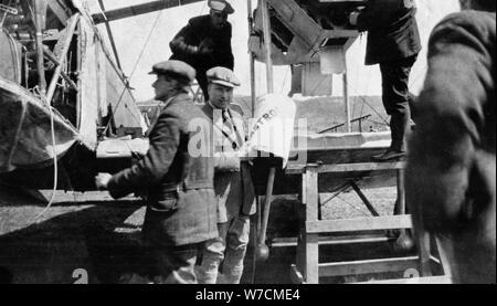 John Alcock (1892-1919) and Arthur Whitten Brown (1886-1948), British aviators, 1919. Artist: Unknown - Stock Photo