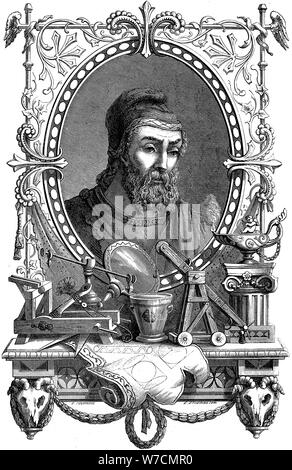 Archimedes (c287-212 BC), Ancient Greek mathematician and inventor, 1866. Artist: Unknown - Stock Photo