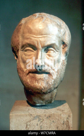 Aristotle (384-322 BC), Ancient Greek philosopher and scientist. Artist: Unknown - Stock Photo