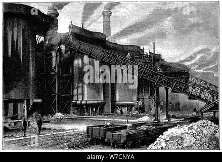 Blast furnaces, Barrow Hematite Iron and Steel Company, Barrow in Furness, Cumbria, 1890. Artist: Unknown - Stock Photo