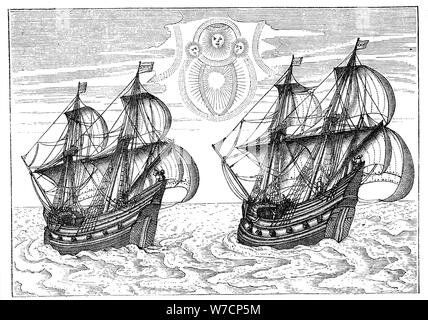 Ships of Willem Barents' expedition to the Arctic, 1596. Artist: Unknown - Stock Photo