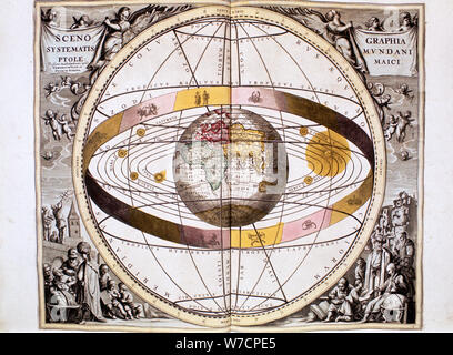 Ptolemaic (geocentric/Earth-centred) system of the Universe, 1708. Artist: Unknown - Stock Photo