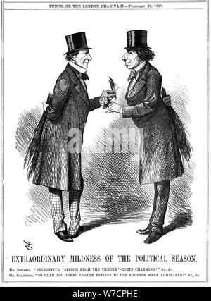 'Extraordinary Mildness of the Political Season', 1869. Artist: John Tenniel - Stock Photo