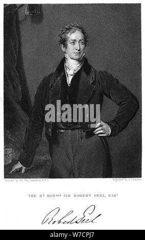 Robert Peel, 19th century British statesman. Artist: J Cochran - Stock Photo