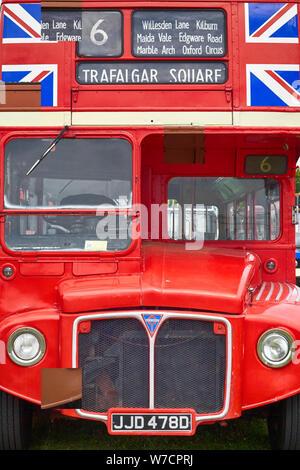 Vintage London bus no 6 Trafalgar square - Stock Photo