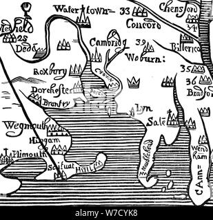 Early map of Massachusetts Bay, USA. Artist: Unknown - Stock Photo