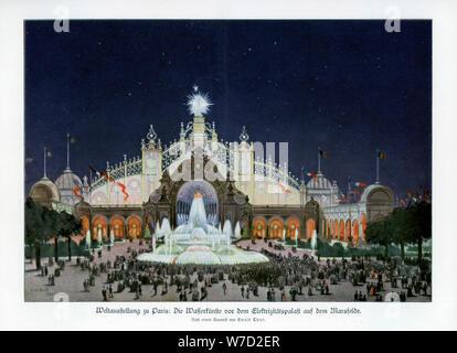 Fountains at the Palace of Electricity, Champ de Mars, Paris World Exposition 1889, (1900).Artist: Ewald Thiel - Stock Photo