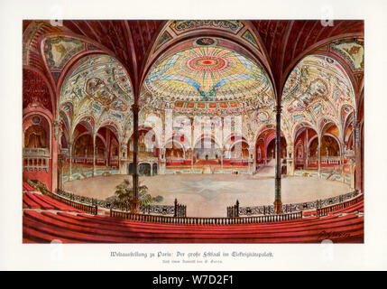 The Great Ballroom in the Palace of Electricity, Paris World Exposition, 1889, (1900).Artist: G Garen - Stock Photo