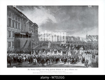 The accession to the throne of Frederick William IV of Prussia, 15 October 1840, (1900). Artist: Unknown - Stock Photo