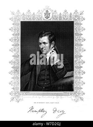 Sir Humphry Davy, Cornish chemist and physicist, 19th century.Artist: Thomson - Stock Photo