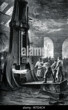 Nasmyth's steam hammer at work, (c1880). Artist: Roberts - Stock Photo