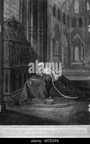 Louis VII, King of France before Becket's tomb, Canterbury Cathedral, 12th century (1800).Artist: W Sharp - Stock Photo