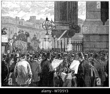 Crowd at the Mansion House reading the bulletins of the Prince of Wales's illness, 1871 (1900). Artist: Unknown - Stock Photo