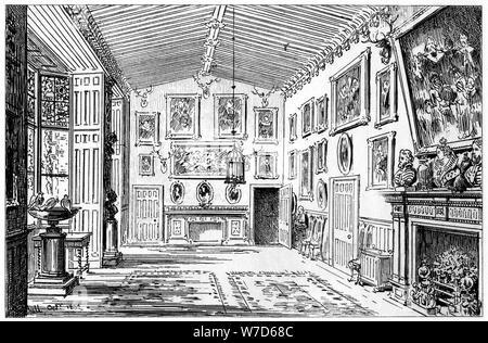 The great hall of Charlecote Park, Warwickshire, 1885.Artist: Edward Hull - Stock Photo