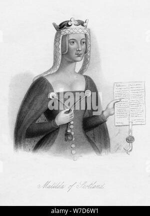 Matilda of Scotland, Queen of Henry I, (19th century). Artist: Unknown - Stock Photo
