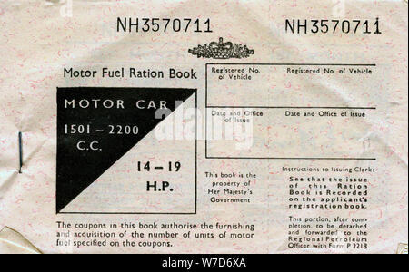 Motor fuel ration book, c1950s. Artist: Unknown - Stock Photo