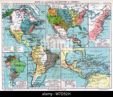 Maps to illustrate the history of America, 1901. Artist: Unknown - Stock Photo