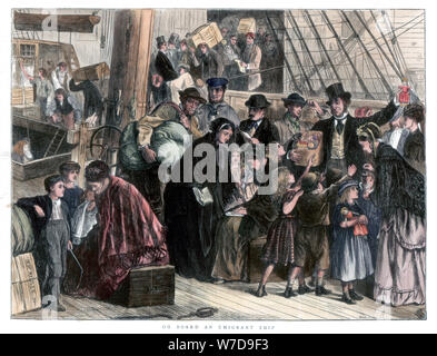 'On board the emigrant ship', 1871. Artist: Unknown - Stock Photo