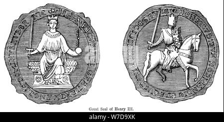 Great seal of Henry III. Artist: Unknown - Stock Photo