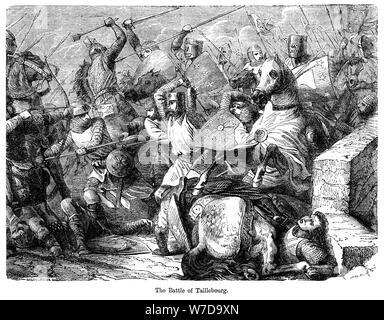 The Battle of Taillebourg, France, 1242.Artist: Felix Henri Emmanuel Philippoteaux - Stock Photo