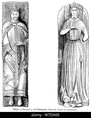 Effigies of Richard I and Berengaria, from the tomb at Fontevrault Abbet, France. Artist: Unknown - Stock Photo