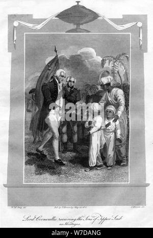 Lord Cornwallis (1738-1805) receiving the sons of Tippoo Saib as hostages, 1816.Artist: I Brown - Stock Photo