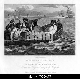 'The idle 'prentice turn'd away and sent to sea', plate V of 'Industry and Idleness', 1833.Artist: Henry Adlard - Stock Photo