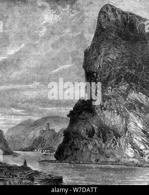 Loreley rock, near St Goarshausen, Germany, 19th century. Artist: Richard Principal Leitch - Stock Photo