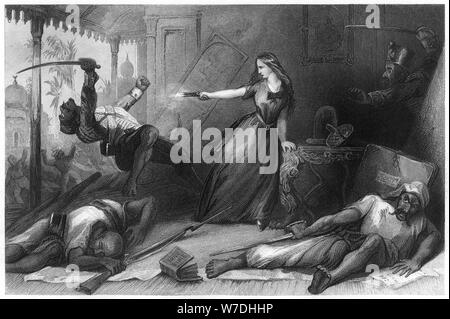 'Miss Wheeler defending herself against the Sepoys at Cawnpore', 1857, (c1860). Artist: Unknown - Stock Photo