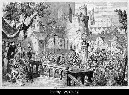 Masque in the palace garden of the Tower of London, 1840.Artist: George Cruikshank