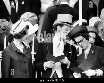 Princess Alexandra, Angus Ogilvy, and Princess Marina at the Derby, Epsom, 1960s. Artist: Unknown - Stock Photo