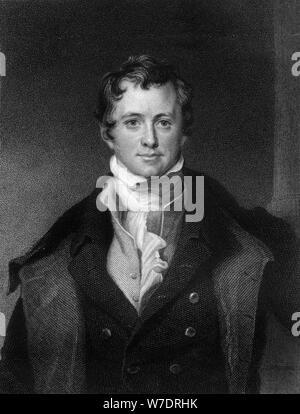 Sir Humphrey Davy, Cornish chemist and physicist, (1845).Artist: E Scriven - Stock Photo