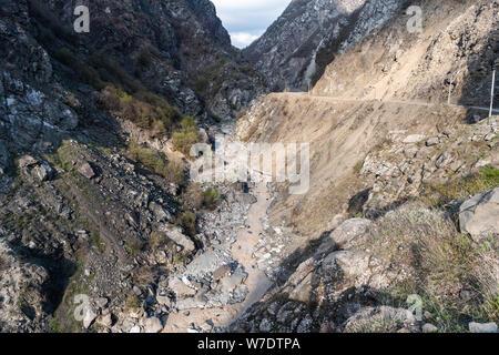 Landscape near Lahic village in Ismayill region of Azerbaijan, with mountainous road. - Stock Photo