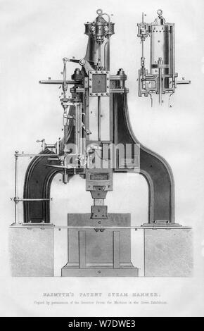 Nasmyth's patent steam hammer, 1866. Artist: Unknown - Stock Photo